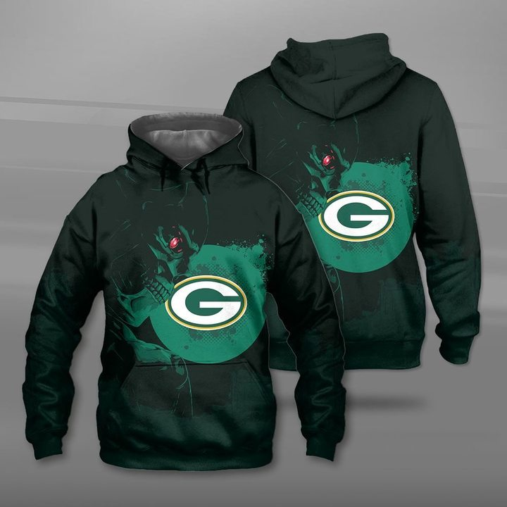 National football league green bay packers terminator full printing hoodie