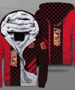 National hockey league calgary flames full printing fleece hoodie