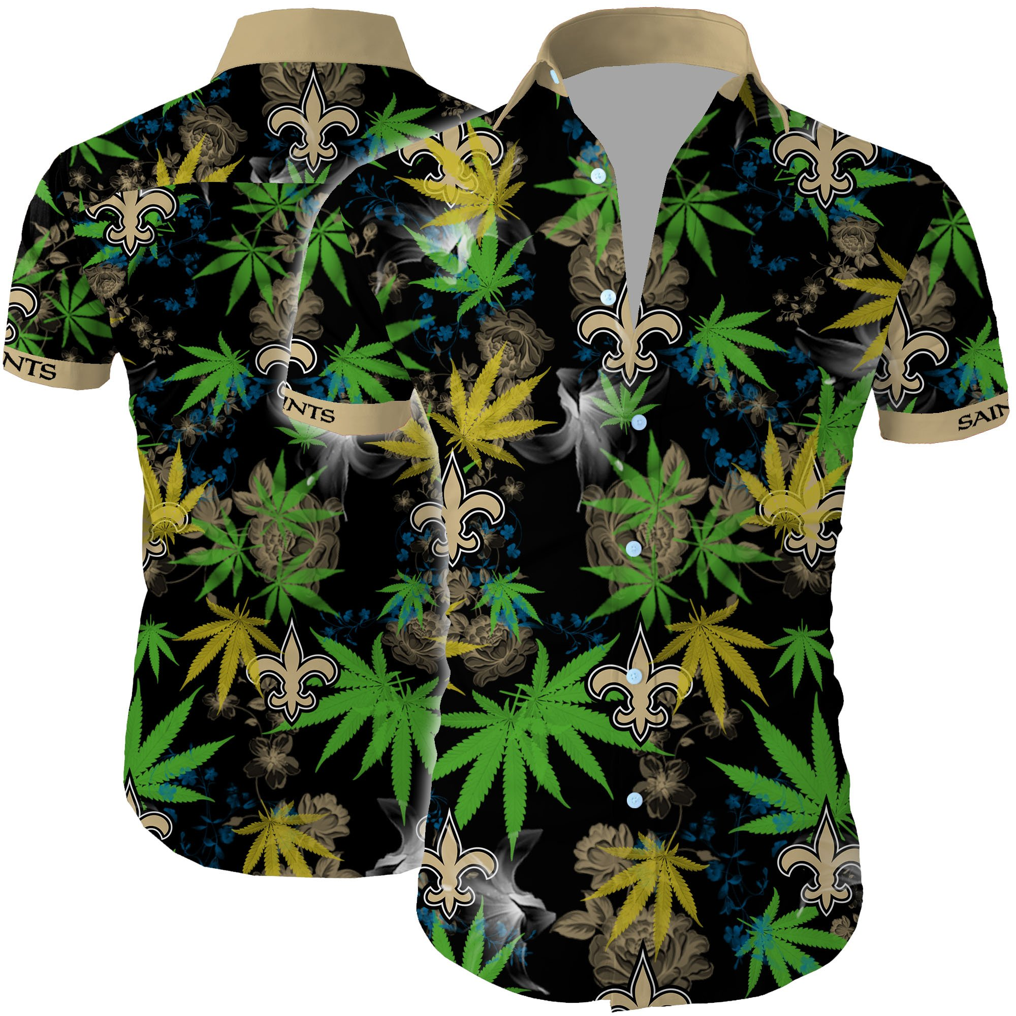 New orleans saints cannabis all over printed hawaiian shirt 1