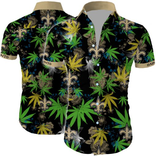 New orleans saints cannabis all over printed hawaiian shirt 2