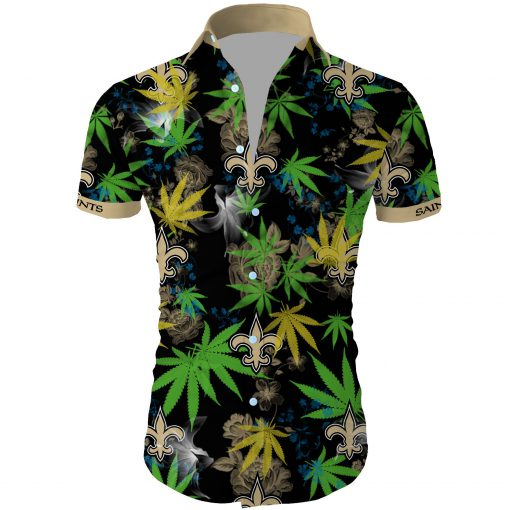 New orleans saints cannabis all over printed hawaiian shirt 3
