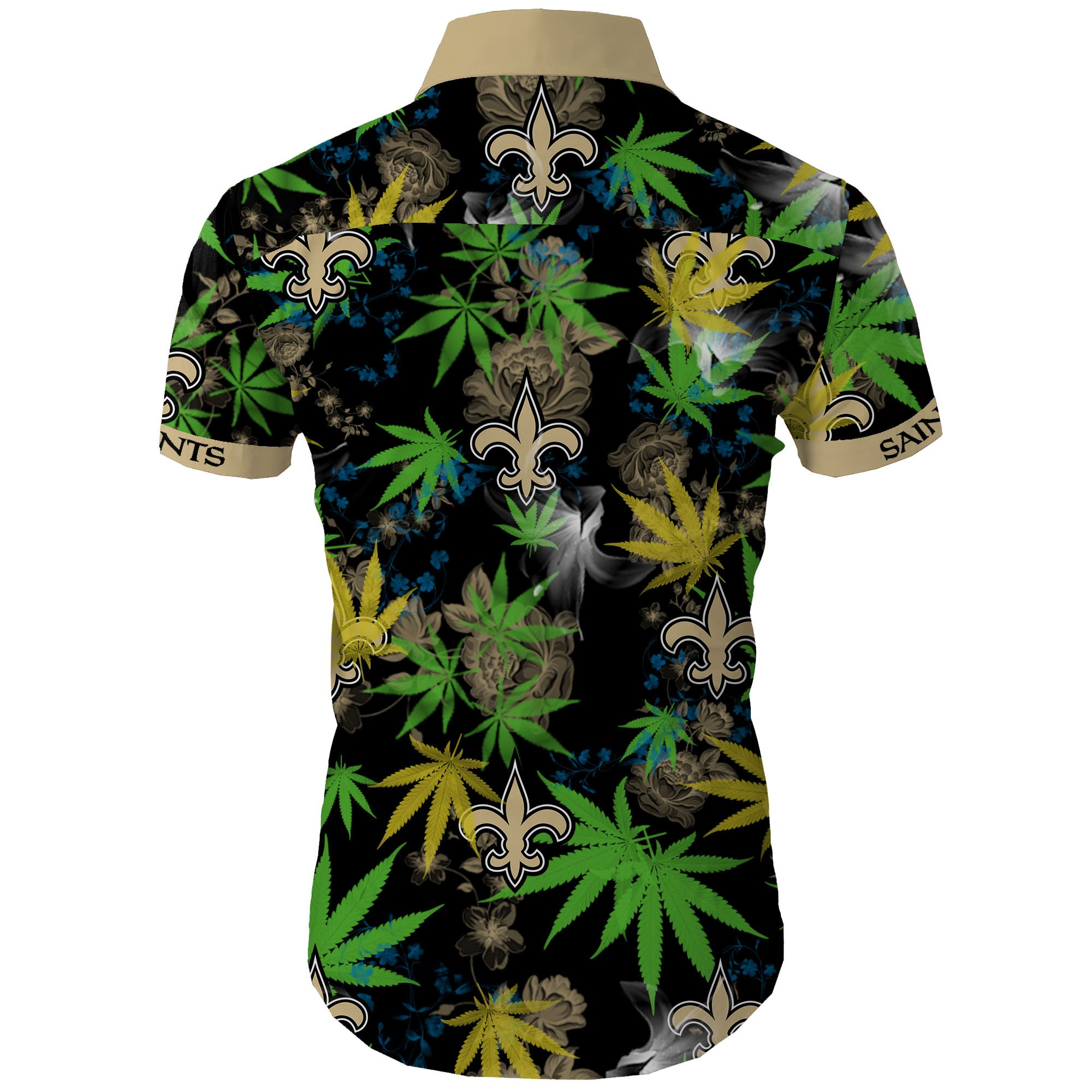 New orleans saints cannabis all over printed hawaiian shirt 4