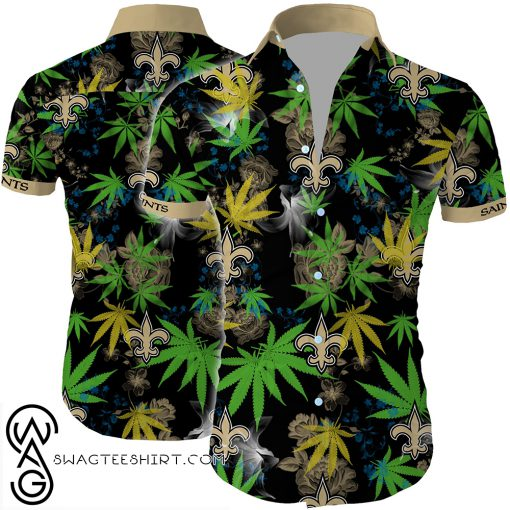 New orleans saints cannabis all over printed hawaiian shirt