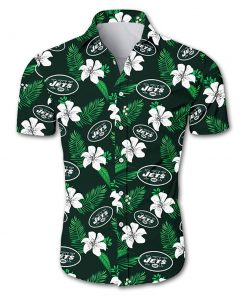 New york jets tropical flower hawaiian shirt 1