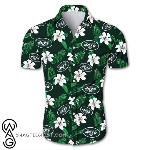 New york jets tropical flower hawaiian shirt