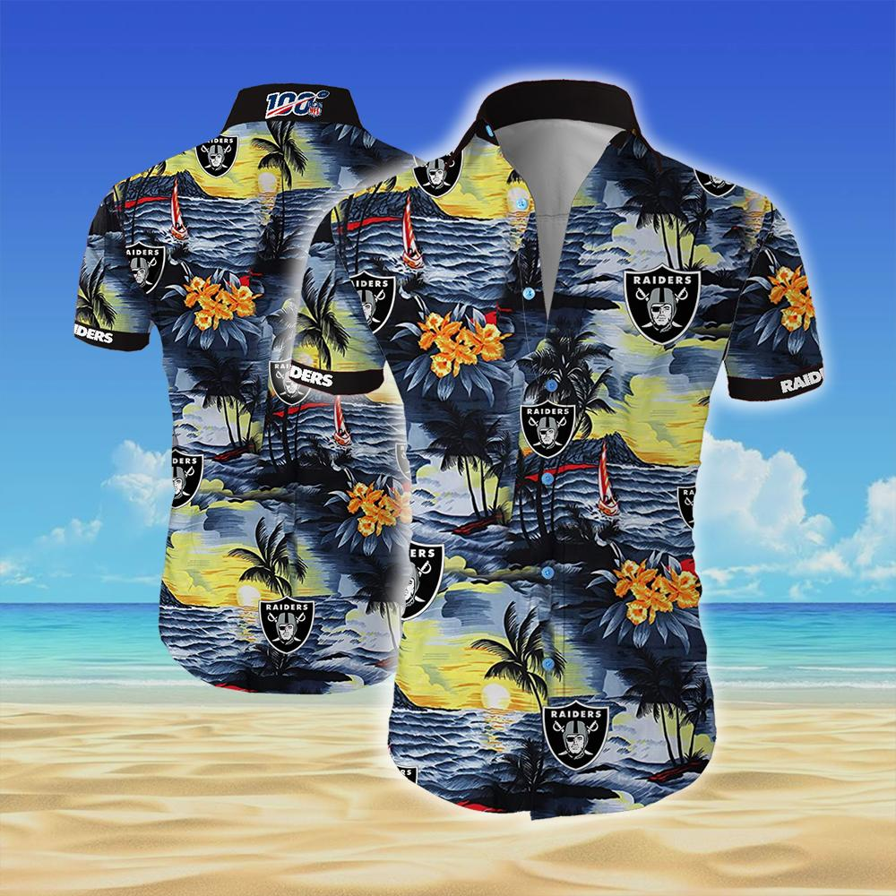 Oakland raiders all over printed hawaiian shirt 1