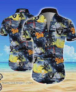 Oakland raiders all over printed hawaiian shirt