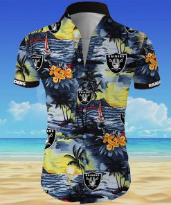 Oakland raiders all over printed hawaiian shirt 3