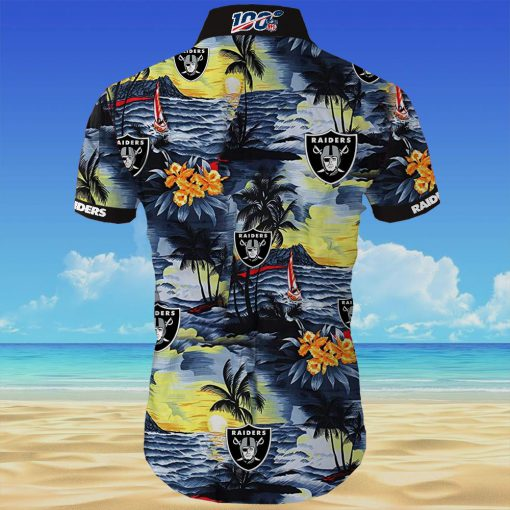 Oakland raiders all over printed hawaiian shirt 4