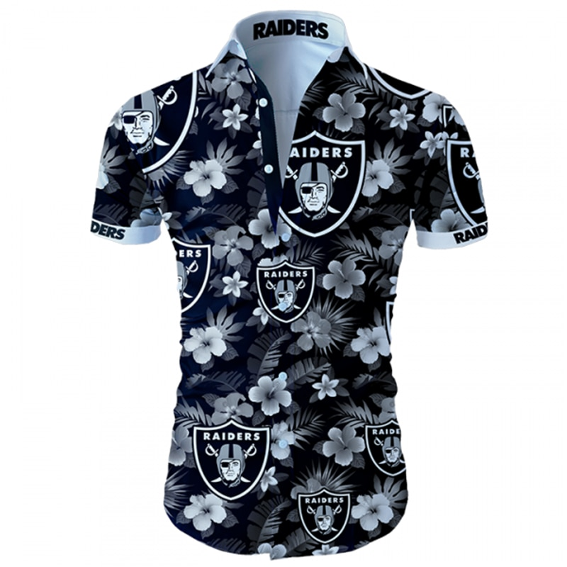 Oakland raiders tropical flower hawaiian shirt 2