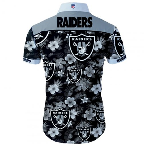 Oakland raiders tropical flower hawaiian shirt 3
