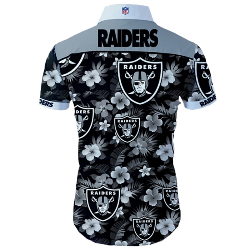Oakland raiders tropical flower hawaiian shirt 4