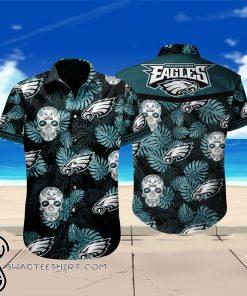 Philadelphia eagles sugar skull floral hawaiian shirt