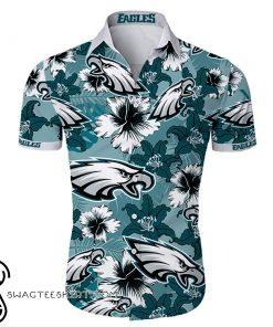 Philadelphia eagles tropical flower hawaiian shirt