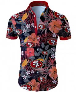 San francisco 49ers tropical flower hawaiian shirt 1