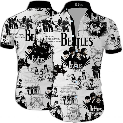 The beatles band all over printed hawaiian shirt 1