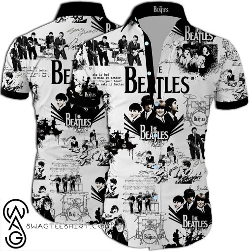 The beatles band all over printed hawaiian shirt