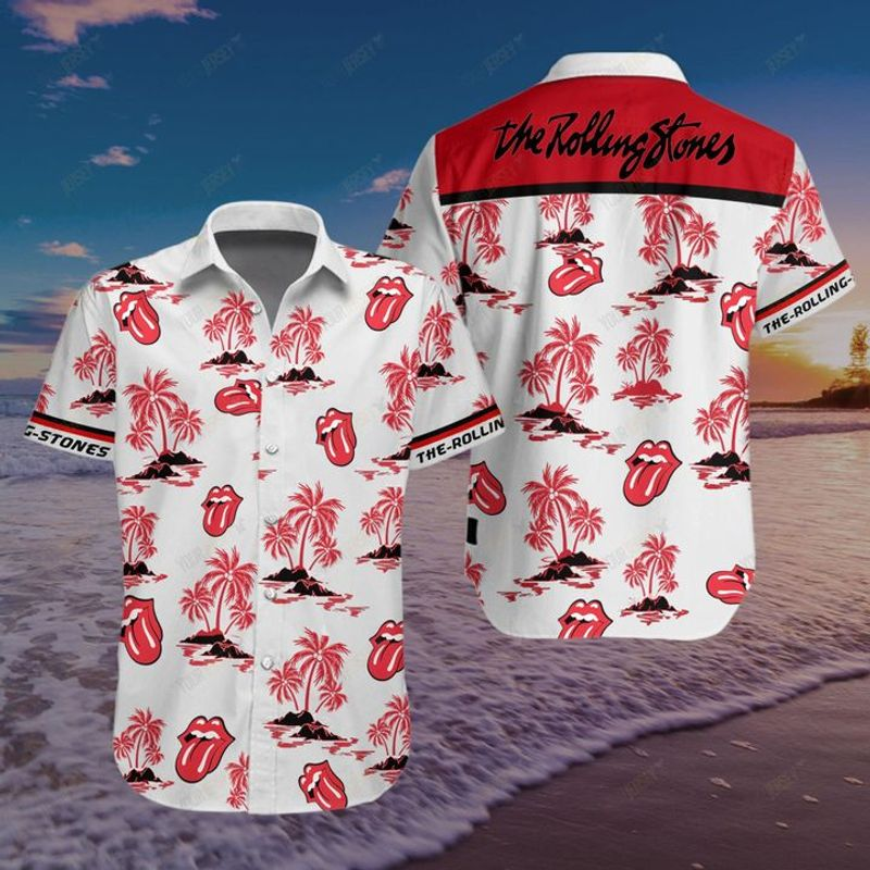 The rolling stones floral hawaiian shirt 3