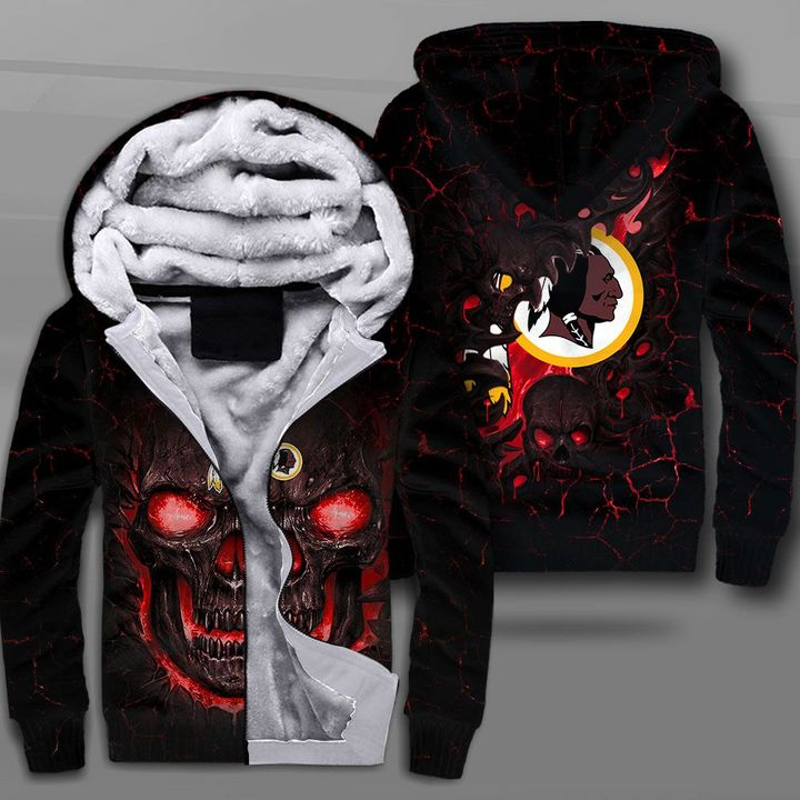 Washington redskins lava skull full printing fleece hoodie