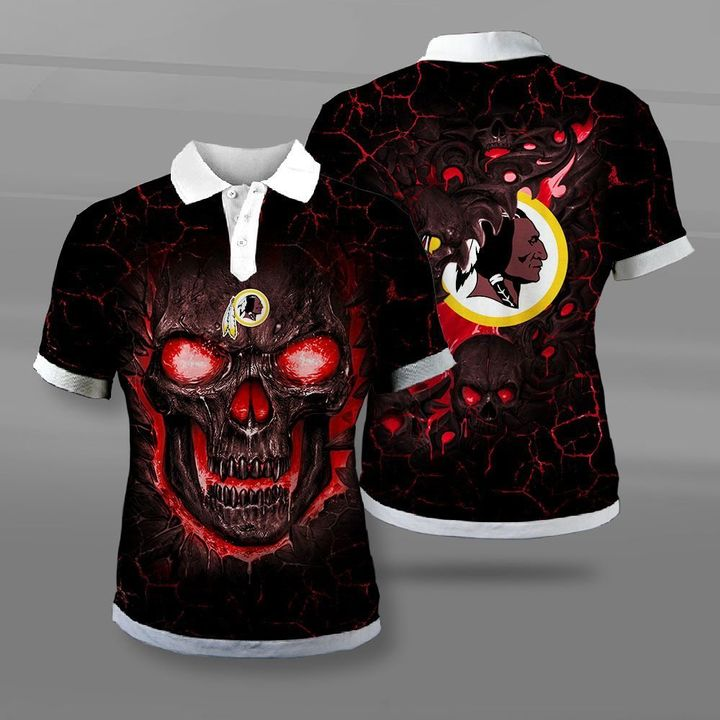 Washington redskins lava skull full printing polo