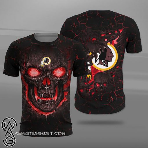 Washington redskins lava skull full printing shirt