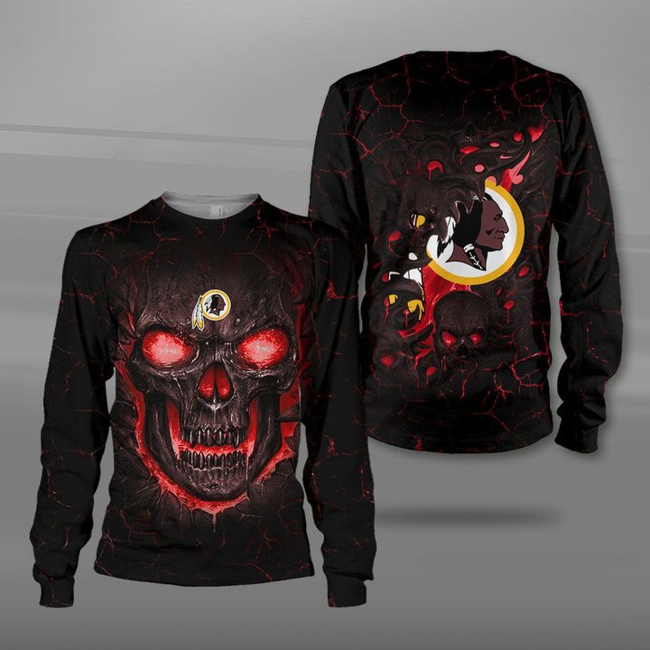Washington redskins lava skull full printing sweatshirt