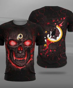 Washington redskins lava skull full printing tshirt