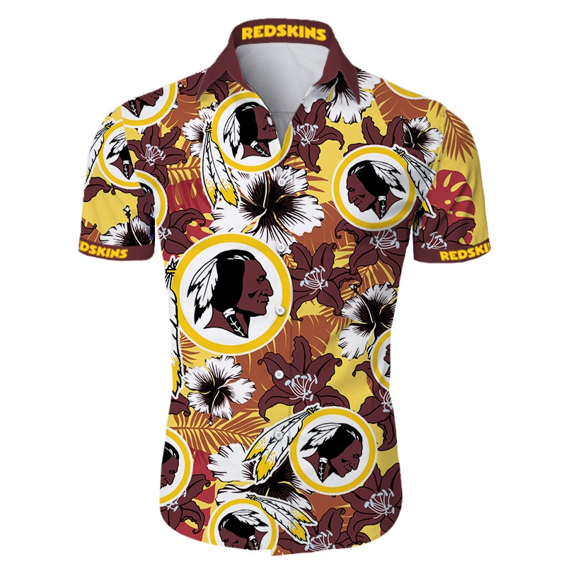 Washington redskins tropical flower hawaiian shirt 1