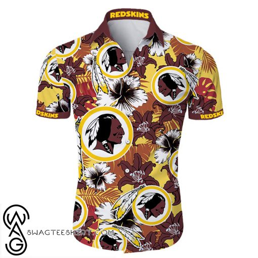Washington redskins tropical flower hawaiian shirt
