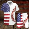 Baseball american flag hawaiian shirt