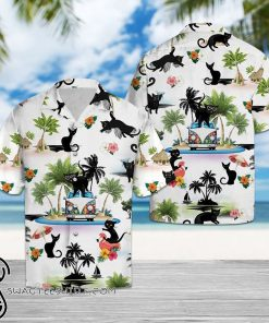 Beach hawaii black cat hawaiian shirt