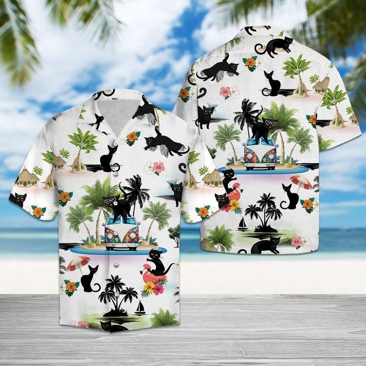 Beach hawaii black cat hawaiian shirt 4