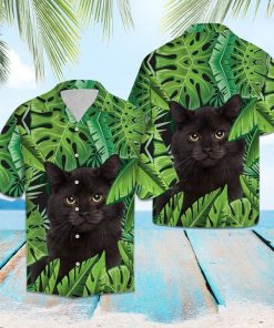 Beach hawaii black cat tropical hawaiian shirt 1