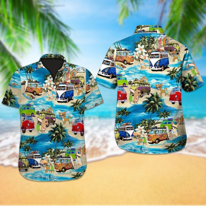 Beach hawaii chihuahua dog hawaiian shirt 1