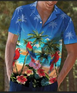 Beach hawaii parrot summer hawaiian shirt 1