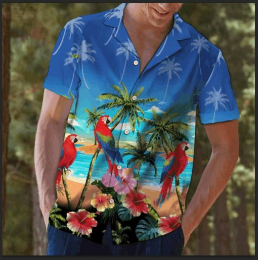 Beach hawaii parrot summer hawaiian shirt 4