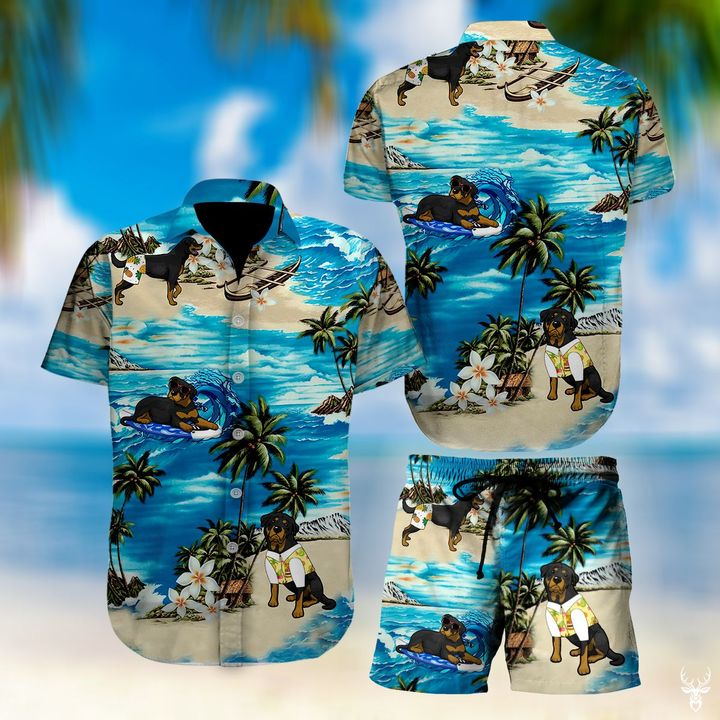 Beach hawaii rottweiler floral hawaiian shirt 1