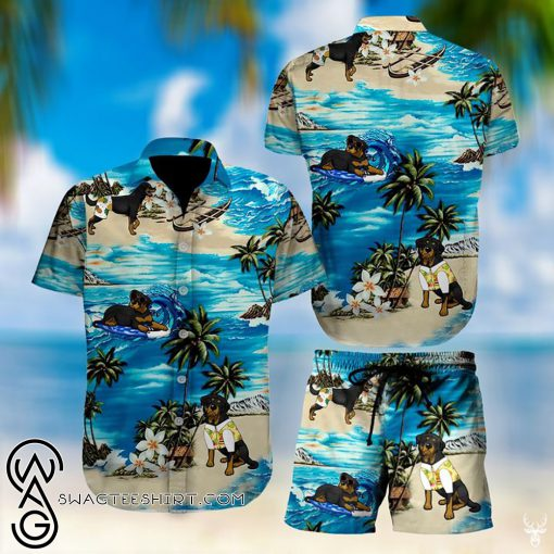 Beach hawaii rottweiler floral hawaiian shirt