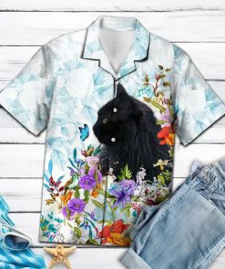 Black cat flower hawaiian shirt 1