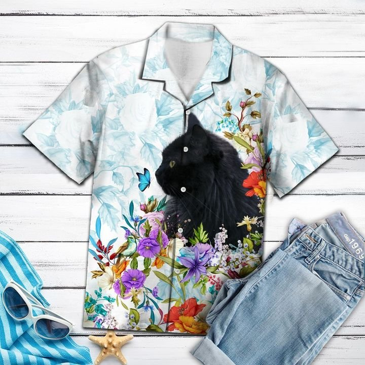 Black cat flower hawaiian shirt 4