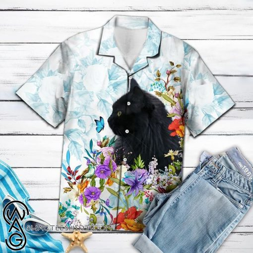 Black cat flower hawaiian shirt