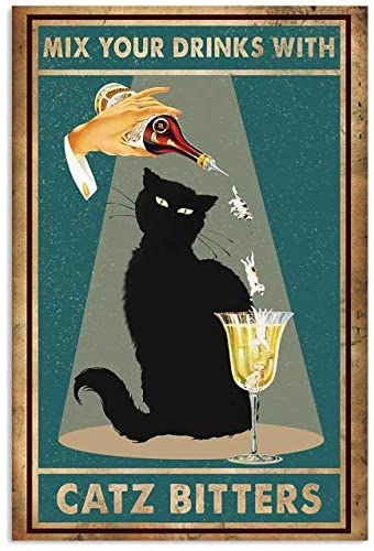 Black cat mix your drinks with catz bitters poster 4
