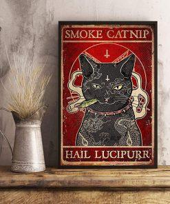 Black cat smoke catnip hail lucipurr poster poster 3