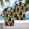 Black cat tropical fruits hawaiian shirt
