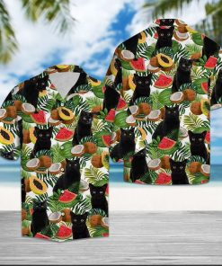 Black cat tropical fruits hawaiian shirt 4