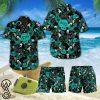 Black cat tropical hawaiian shirt