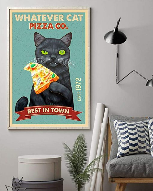 Black cat whatever cat pizza best in town vintage poster 3