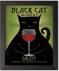 Black cat winery salem always a purrrfect vintage poster 2