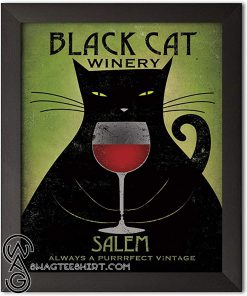 Black cat winery salem always a purrrfect vintage poster