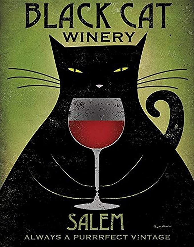 Black cat winery salem always a purrrfect vintage poster 4